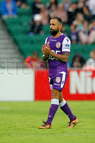 25th March 2018, nib Stadium, Perth, Australia; A League football, Perth Glory versus Melbourne Victory; Diego Castro of the Perth Glory applauds the fans as he is substituted during the second half