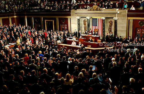 Washington, D.C. - January 4, 2007 --  Members of the 110th Congress are sworn-in by Speaker of the United States House of Representatives Nancy Pelosi (Democrat of the 8th District of California) in the Capitol in Washington, D.C. on Thursday, January 4, 2007.  Speaker Pelosi is the first woman in U.S. history to serve in that position..Credit: Ron Sachs / CNP