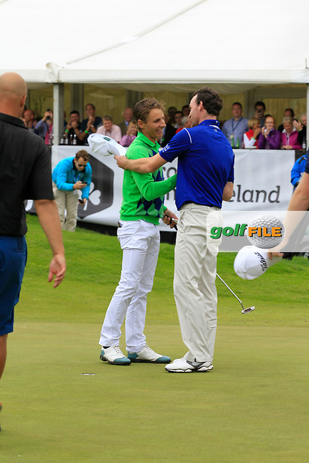 Joakim Lagergren (SWE) on the 18th green puts for a birdie and to win the Northern Ireland Open Challenge in Galgorm Golf Club on Sunday 31st August 2014.<br /> Picture:  Thos Caffrey / www.golffile.ie