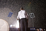 US Senator and Democratic Presidential nominee Barack Obama speaks to supporters during a rally in Fredericksburg, Virginia, USA, 27 September 2008. The rally comes the day after the first presidential debate between Senator Obama and  Senator John McCain.