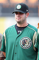 August 14 2008:  Anthony Capra of the Kane County Cougars, Class-A affiliate of the Oakland Athletics, during a game at Philip B. Elfstrom Stadium in Geneva, IL.  Photo by:  Mike Janes/Four Seam Images