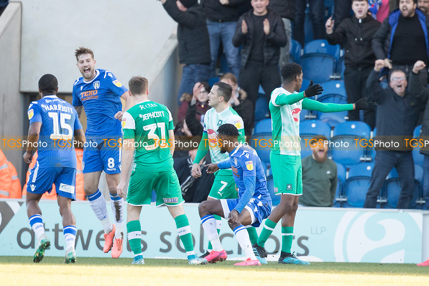 Colchester celebrate the second goal as the defence are left asking questions during Colchester United vs Plymouth Argyle, Sky Bet EFL League 2 Football at the JobServe Community Stadium on 8th February 2020