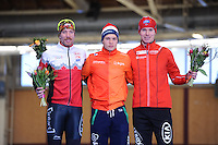 SPEEDSKATING: BERLIN: Sportforum Berlin, 27-01-2017, ISU World Cup, Podium 1500m Men Division B, Ted-Jan Bloemen (CAN), Marcel Bosker (NED), Simen Spieler Nilsen (NOR), ©photo Martin de Jong