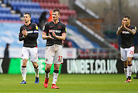 Bolton Wanderers' Callum Connolly applauds his side's travelling supporters at the end of the match <br /> <br /> Photographer Andrew Kearns/CameraSport<br /> <br /> The EFL Sky Bet Championship - Wigan Athletic v Bolton Wanderers - Saturday 16th March 2019 - DW Stadium - Wigan<br /> <br /> World Copyright &copy; 2019 CameraSport. All rights reserved. 43 Linden Ave. Countesthorpe. Leicester. England. LE8 5PG - Tel: +44 (0) 116 277 4147 - admin@camerasport.com - www.camerasport.com