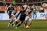Rayo Vallecano's Adrian Embarba and Oscar Guido Trejo and CD Leganes's Jose Luis Garcia del Pozo 'Recio' during La Liga match between Rayo Vallecano and CD Leganes at Vallecas Stadium in Madrid, Spain. February 04, 2019. (ALTERPHOTOS/A. Perez Meca)