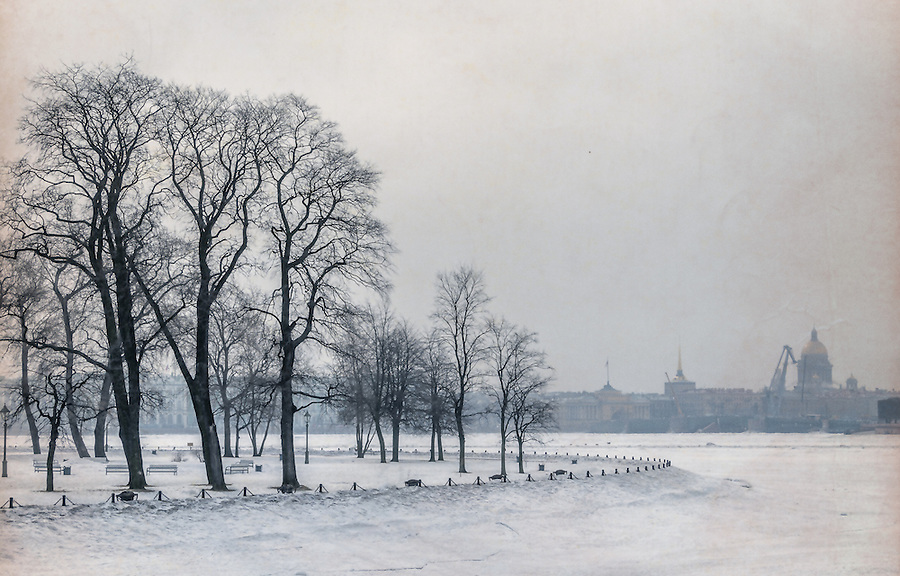 Zayachy Island in Saint Petersburg during winter time.