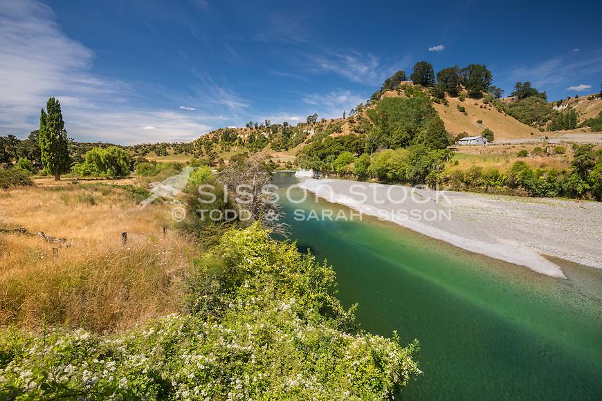 Rangitikei River near Ohingaiti, North Island, New Zealand - stock photo, canvas, fine art print