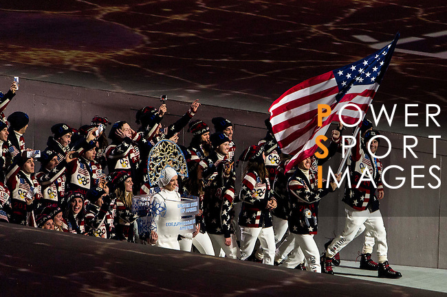 Olympic team of United States of America during the parade of nations at the Opening ceremony of the 2014 Sochi Olympic Winter Games at Fisht Olympic Stadium on February 7, 2014 in Sochi, Russia. Photo by Victor Fraile / Power Sport Images