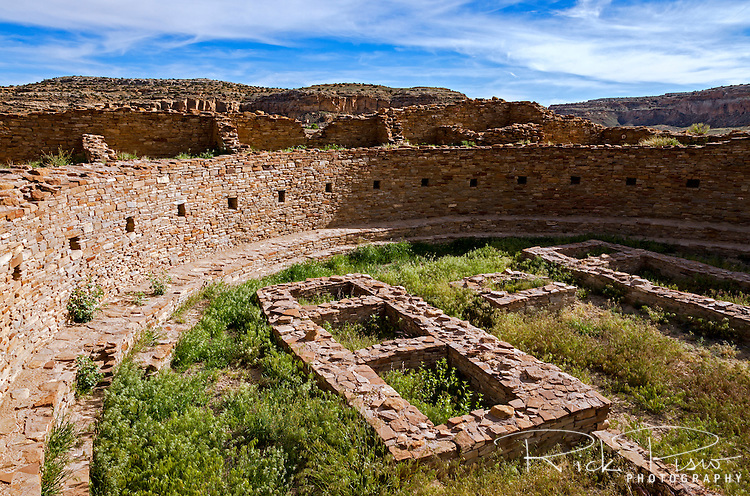 Great Kiva within Pueblo Bonito at Chaco Culture National Historical Park in New Mexico. Pueblo Bonito was constructed in stages between AD 850 to AD 1150 by the ancestral Puebloan peoples and is considered the center of the Chacoan world.