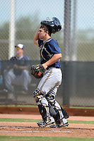 Milwaukee Brewers catcher Matt Martin (57) during an Instructional League game against the Cincinnati Reds on October 6, 2014 at Maryvale Baseball Park Training Complex in Phoenix, Arizona.  (Mike Janes/Four Seam Images)