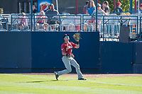Vancouver Canadians right fielder Griffin Conine (9) prepares to catch a fly ball during a Northwest League game against the Spokane Indians at Avista Stadium on September 2, 2018 in Spokane, Washington. The Spokane Indians defeated the Vancouver Canadians by a score of 3-1. (Zachary Lucy/Four Seam Images)