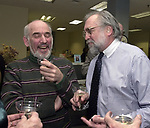 Stan Wolfson, and Tony Marro at champagne get together of Newsday staff in the City room to toast the departure of colleagues on Friday March 1, 2002. (Photo by Jim Peppler).