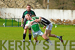 Derry Ahern Listry goes down Maradonaesque to Chris Davies Legion tackle in front of ref Tom Lynch in Direen on Sunday