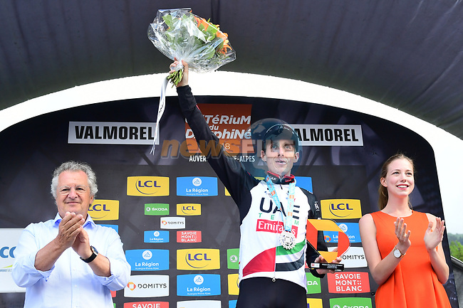 Dan Martin (IRL) UAE-Team Emirates wins Stage 5 of the 2018 Criterium du Dauphine 2018 running 130km from Grenoble to Valmorel, France. 8th June 2018.<br /> Picture: ASO/Alex Broadway | Cyclefile<br /> <br /> <br /> All photos usage must carry mandatory copyright credit (© Cyclefile | ASO/Alex Broadway)