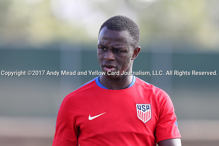 11 January 2017: Kekuta Manneh. The United States Men's National Team held their first training session under new head coach Bruce Arena on The Murphy Family Field at the StubHub Center in Carson, California.