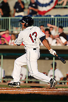 Mahoning Valley Scrappers outfielder Jordan Casas (13) during a game vs. the Batavia Muckdogs at Eastwood Field in Niles, Ohio;  June 24, 2010.   Batavia defeated Mahoning Valley 6-3.  Photo By Mike Janes/Four Seam Images
