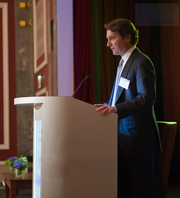 "Nov. 1, 2011; Tripp Smith, chair of the Notre Dame Wall Street Leadership Committee opens the ""Invest Like a Champion Today"" conference in New York City. The conference was sponsored by the Notre Dame Wall Street Leadership Committee and the Notre Dame Investment Office and brought together Notre Dame Alumni and other leaders in the investment management profession...Photo by Matt Cashore/University of Notre Dame"