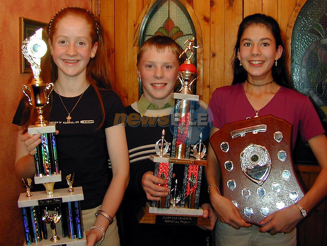 Cora Russell, Tullyallen, Best Overall Athlethe of the Year, Donal Murphy, Grangebellew, Boys Best Overall Athlethe of the Year and Ashling McConville, Dundalk, Best Overall Juvenille Athlethe of the Year at the Dunleer A.C. awards night in The Crowing Cock..Picture Paul Mohan Newsfile