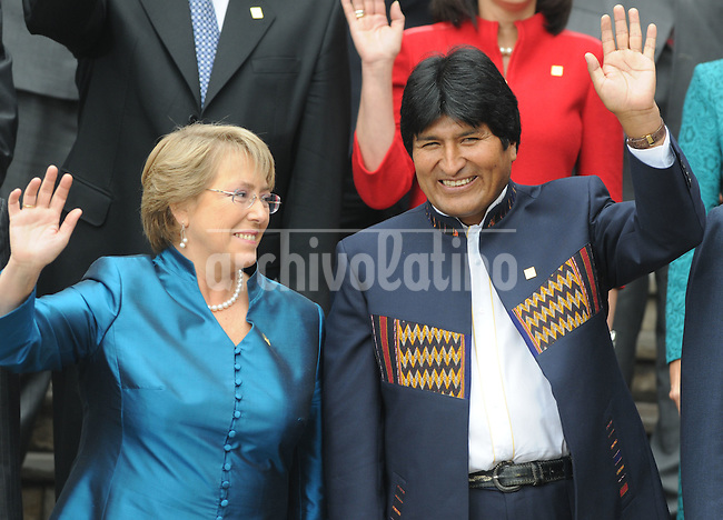 Presidents of Chile, Michelle Bachelet, and Bolivia, Evo Morales, during  the Fifth Summit of Latin America, the Caribbean and the European Union in    Lima