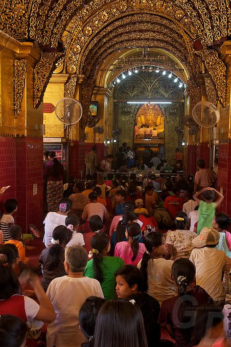 Mahamuni Buddha Image,during the festival of Light Mandalay, Myanmar