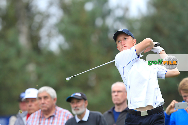 Marcus Kinhult (SWE) in the Mixed Fourballs during the 2014 JUNIOR RYDER CUP at the Blairgowrie Golf Club, Perthshire, Scotland. <br /> Picture:  Thos Caffrey / www.golffile.ie