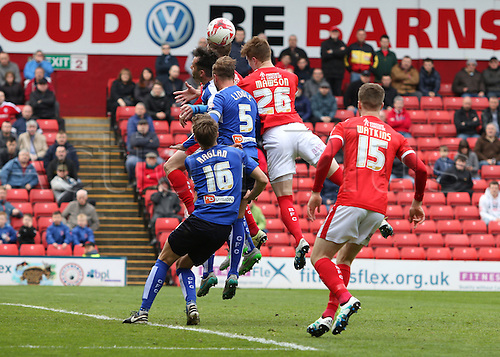 09.04.2016. Oakwell, Barnsley, England. Skybet League One. Barnsley versus Chesterfield. Barnsley's Alfie Mawson heads the ball towards goal