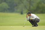 Jose Maria Olazabal lining up a putt on the 13th during the first round of the ISPS Handa Wales Open 2012....31.05.12.©Steve Pope