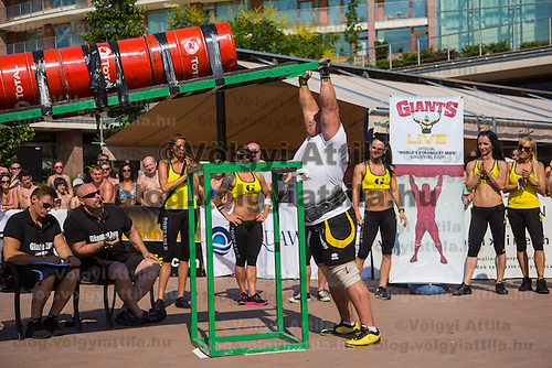 Peter Puzser of Slovakia competes in viking press during the Giants Live Strongman Competition in Budapest, Hungary on June 17, 2012. ATTILA VOLGYI