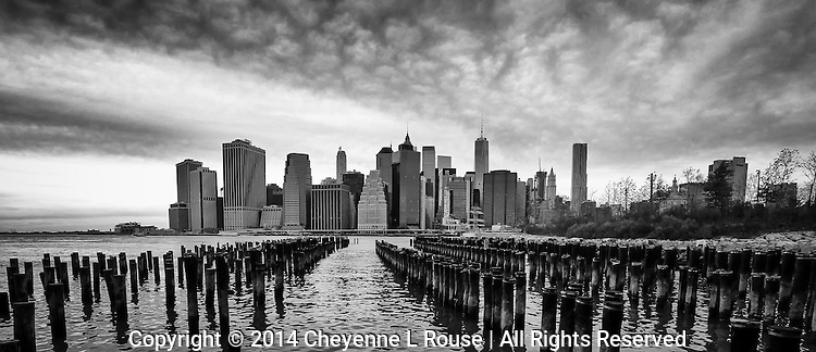 New York City Skyline B&W - Brooklyn Bridge Park