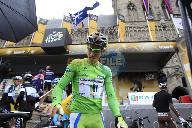 Peter Sagan (SVK) Cannondale at sign on in Ypres before the start of the cobbled stage Stage 5 of the 2014 Tour de France running 155.5km from Ypres to Arenberg. 9th July 2014.<br /> Picture: Eoin Clarke www.newsfile.ie