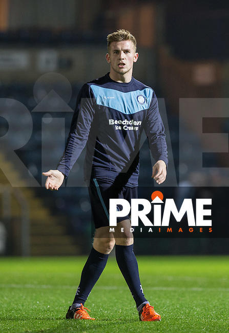 Jason McCarthy of Wycombe Wanderers during pre match warm up during the Sky Bet League 2 match between Wycombe Wanderers and Notts County at Adams Park, High Wycombe, England on 15 December 2015. Photo by Andy Rowland.