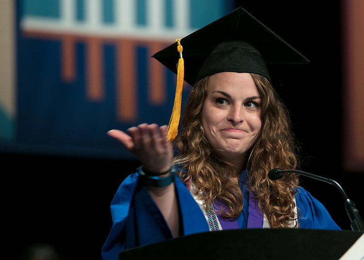 Virginia R. McElwain, student speaker, addresses fellow classmates Saturday, June 10, 2017, during the DePaul University College of Education commencement ceremony at the Rosemont Theatre in Rosemont, IL. (DePaul University/Jeff Carrion)