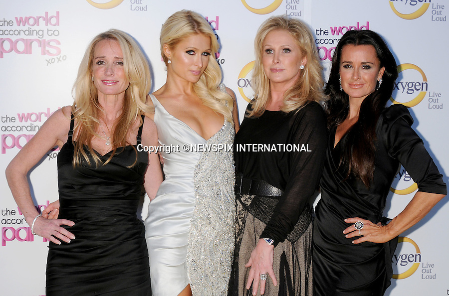 """Paris Hilton, Kathy Hilton, Kim Richards and Kyle Richards.arrives at """"The World According to Paris"""" Premiere Party at the Tropicana Bar at the Hollywood Roosevelt Hotel on May 17, 2011 in Hollywood, California..Mandatory Photo Credit: ©Crosby/Newspix International..**ALL FEES PAYABLE TO: """"NEWSPIX INTERNATIONAL""""**..PHOTO CREDIT MANDATORY!!: NEWSPIX INTERNATIONAL(Failure to credit will incur a surcharge of 100% of reproduction fees)..IMMEDIATE CONFIRMATION OF USAGE REQUIRED:.Newspix International, 31 Chinnery Hill, Bishop's Stortford, ENGLAND CM23 3PS.Tel:+441279 324672  ; Fax: +441279656877.Mobile:  0777568 1153.e-mail: info@newspixinternational.co.uk"""