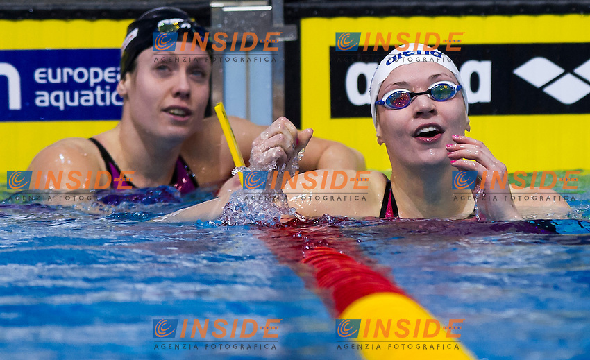 LAUKKANEN Jenna FIN gold medal and NIJHUIS Moniek NED silver medal<br /> Women's 100m breaststroke final<br /> Netanya, Israel, Wingate Institute<br /> LEN European Short Course Swimming Championships <br /> Dec. 2 - 6, 2015 <br /> Netanya 05-12-2015<br /> Nuoto Campionati Europei di nuoto in vasca corta<br /> Photo Giorgio Perottino/Deepbluemedia/Insidefoto