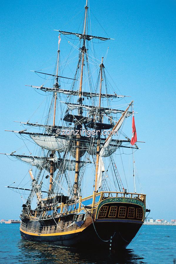 Tall Ship, Brig, Schooner, Anchored