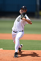 GCL Tigers pitcher Spenser Watkins (19) delivers a pitch during a game against the GCL Blue Jays on June 30, 2014 at Tigertown in Lakeland, Florida.  GCL Blue Jays defeated the GCL Tigers 3-1.  (Mike Janes/Four Seam Images)