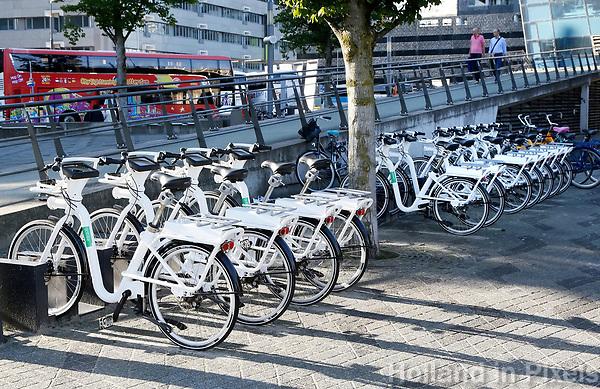 Nederland  Rotterdam -  2017.  Gobikes in het centrum. Gobikes zijn slimme elektrische deelfietsen.   Foto Berlinda van Dam / Hollandse Hoogte
