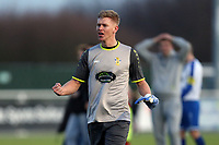 David Hughes of Aveleycelebrates the victory after Aveley vs Chelmsford City, Buildbase FA Trophy Football at Parkside on 8th February 2020