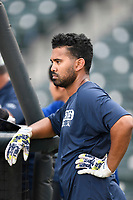 Second baseman Giovanny Alfonzo (6) of the Columbia Fireflies during batting practice before a game against the Charleston RiverDogs on Wednesday, August 29, 2018, at Spirit Communications Park in Columbia, South Carolina. Charleston won, 6-1. (Tom Priddy/Four Seam Images)