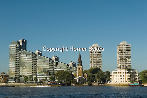Montevetro Tower , River Thames, and St Marys Church Battersea village London