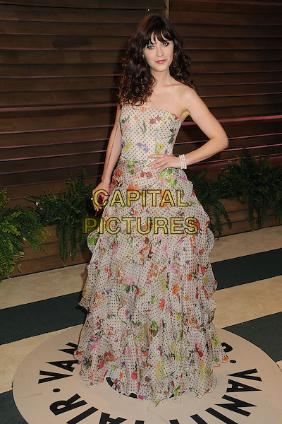 02 March 2014 - West Hollywood, California - Zooey Deschanel. 2014 Vanity Fair Oscar Party following the 86th Academy Awards held at Sunset Plaza.  <br /> CAP/ADM/BP<br /> &copy;Byron Purvis/AdMedia/Capital Pictures