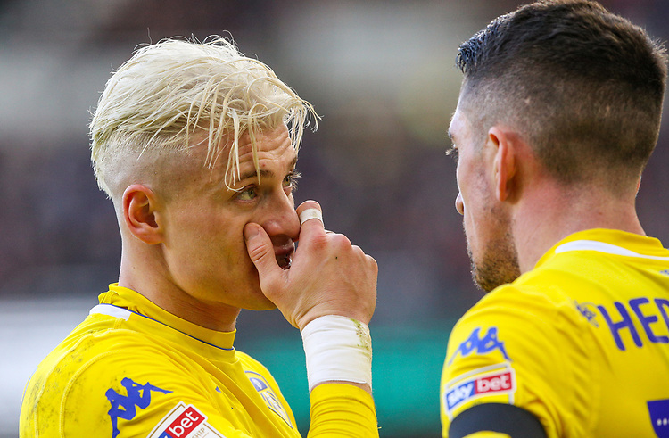 Leeds United's Ezgjan&nbsp;Alioski gives some advice to Pablo Hernandez<br /> <br /> Photographer Alex Dodd/CameraSport<br /> <br /> The EFL Sky Bet Championship - Middlesbrough v Leeds United - Saturday 9th February 2019 - Riverside Stadium - Middlesbrough<br /> <br /> World Copyright &copy; 2019 CameraSport. All rights reserved. 43 Linden Ave. Countesthorpe. Leicester. England. LE8 5PG - Tel: +44 (0) 116 277 4147 - admin@camerasport.com - www.camerasport.com