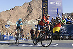 Sonny Colbrelli (ITA) Bahrain-Merida wins Stage 4 ahead of Magnus Cort Nielsen (DEN) Astana Pro Team, The Municipality Stage of the Dubai Tour 2018 the Dubai Tour&rsquo;s 5th edition, running 172km from Skydive Dubai to Hatta Dam, Dubai, United Arab Emirates. 9th February 2018.<br /> Picture: LaPresse/Fabio Ferrari | Cyclefile<br /> <br /> <br /> All photos usage must carry mandatory copyright credit (&copy; Cyclefile | LaPresse/Fabio Ferrari)