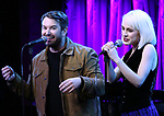 Alex Brightman and Sophia Anne Caruso attends Broadway's 'Beetlejuice' - First Look Presentation at Subculture  on February 28, 2019 in New York City.