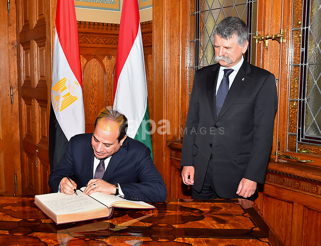 Egyptian President Abdel Fattah al-Sisi meets with Speaker of the Hungarian Parliament Laszlo Kover in the Parliament building in Budapest, Hungary on July 3, 2017. Photo by Egyptian President Office