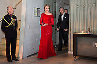 Le roi Philippe de Belgique et la reine Mathilde de Belgique en visite d'Etat au Danemark, lors de la soir&eacute;e &quot; The Black Diamond &quot;, en pr&eacute;sence du Prince Joachim de Danemark  la princesse Marie de Danemark, la princesse Mary de Danemark, le Prince Frederik de Danemark et la reine Margrethe II de Danemark.<br /> Danemark, Copenhague, 30 mars 2017.<br /> King Philippe of Belgium &amp; Queen Mathilde of Belgium during a State Visit to Copenhagen in Denmark are attending The Black Diamond event, with Crown Prince Joachim of Denmark,  Princess Marie of Denmark, princess Mary of Denmark, Prince Frederik of Denmark and Queen Margrethe II of Denmark.<br /> Denmark, Copenhagen, March 30, 2017.<br /> Pic : King Philippe of Belgium &amp; Queen Mathilde of Belgium