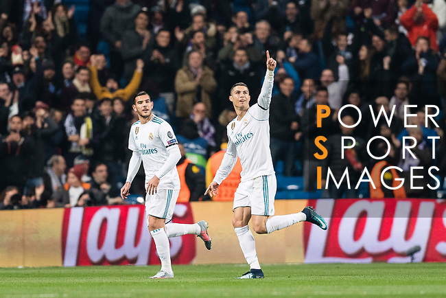 Cristiano Ronaldo of Real Madrid (C) celebrating his score during the Europe Champions League 2017-18 match between Real Madrid and Borussia Dortmund at Santiago Bernabeu Stadium on 06 December 2017 in Madrid Spain. Photo by Diego Gonzalez / Power Sport Images