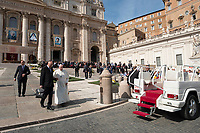 Vatican City, October 13, 2019. Pope Francis leaves Saint Peter Square at the end of the canonization Mass in St. Peter's Square at the Vatican. Pope Francis on Sunday canonized Cardinal John Henry Newman, the 19th-century Anglican convert who became an immensely influential, unifying figure in both the Anglican and Catholic churches. Francis presided over Mass on Sunday in a packed St. Peter's Square to declare Newman and four women saints. (Antonello Nusca/BuenavistaPhoto)