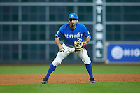 Luke Heyer (26) of the Kentucky Wildcats on defense in game seven of the 2018 Shriners Hospitals for Children College Classic at Minute Maid Park on March 4, 2018 in Houston, Texas.  The Wildcats defeated the Ragin' Cajuns 10-4. (Brian Westerholt/Four Seam Images)