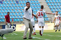 SANTA MARTA - COLOMBIA, 05-04-2019: Harold Rivera técnico del Unión gesticula durante partido por la fecha 14 entre Unión Magdalena y Patriotas Boyacá como parte de la Liga Águila I 2019 jugado en el estadio Sierra Nevada de la ciudad de Santa Marta. / Harold Rivera coach of Union gestures during match for the date 14 between Union Magdalena and Patriotas Boyaca as a part Aguila League I 2019 played at Sierra Nevada stadium in Santa Marta city. Photo: VizzorImage / Gustavo Pacheco / Cont